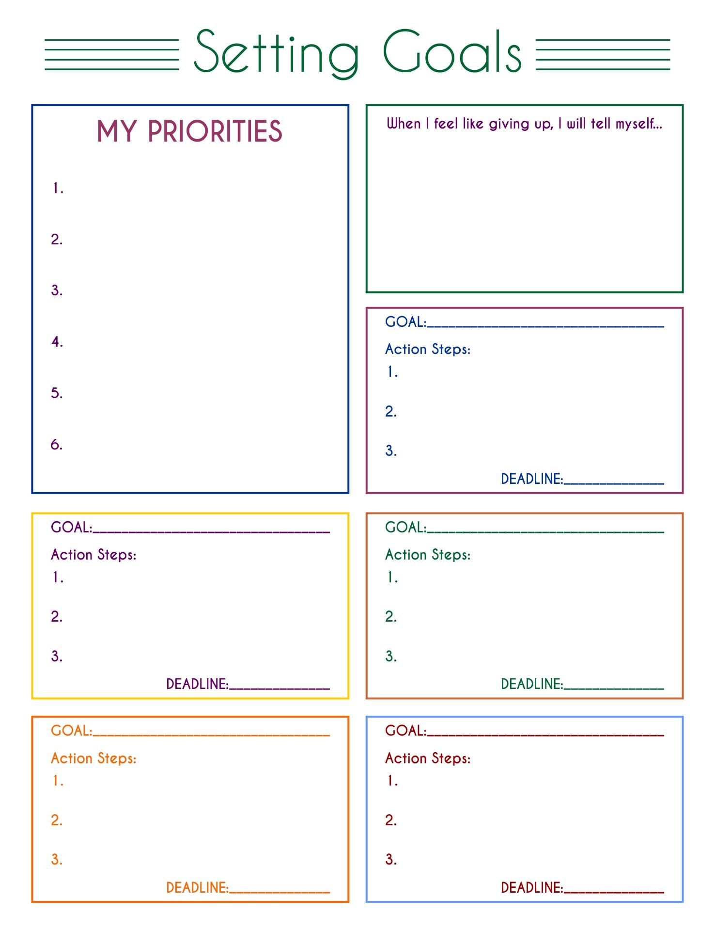 Printable Goal Sheet