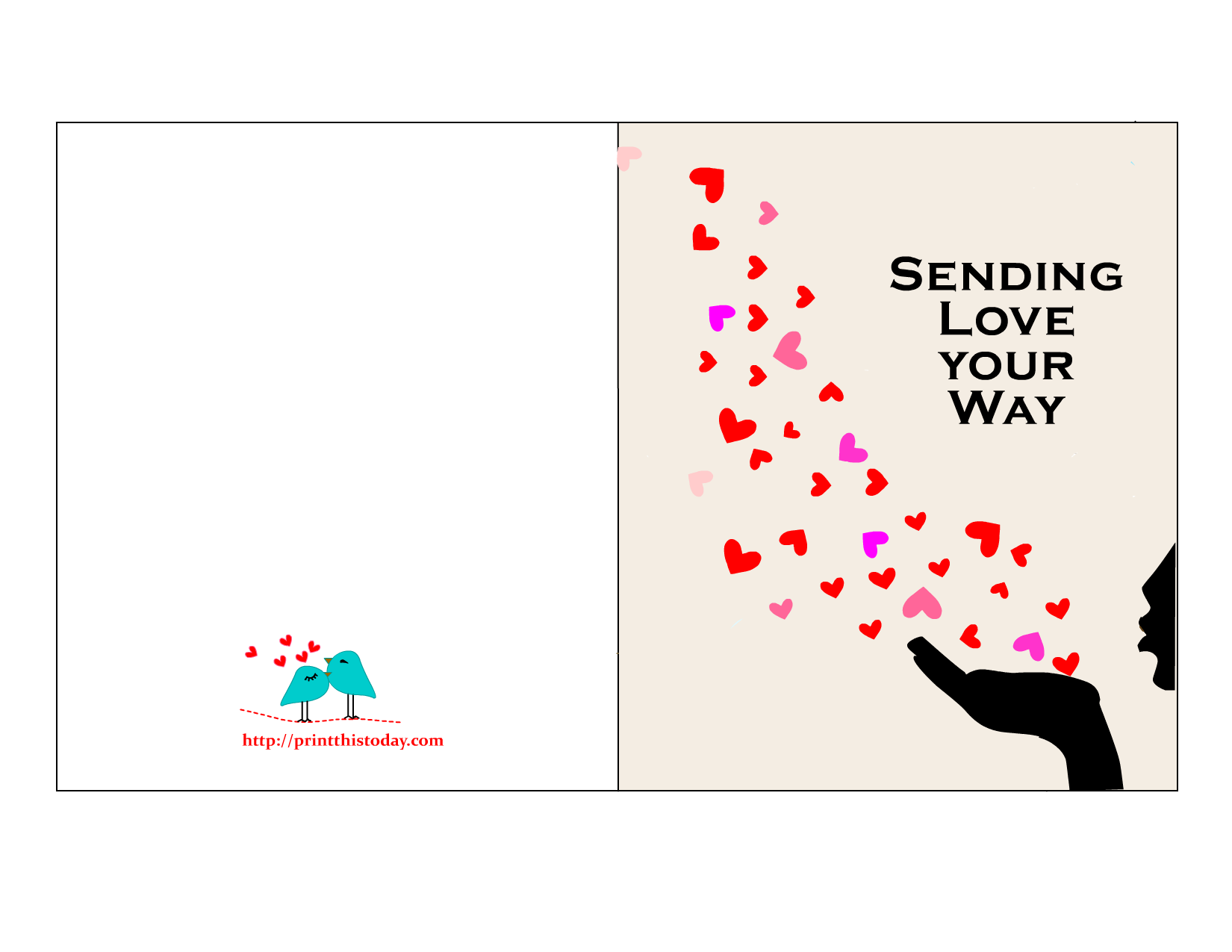 It is a photo of Printable Love Card inside cute
