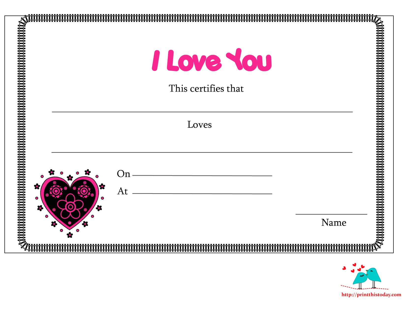 7 Images of I Love You Printable Certificates