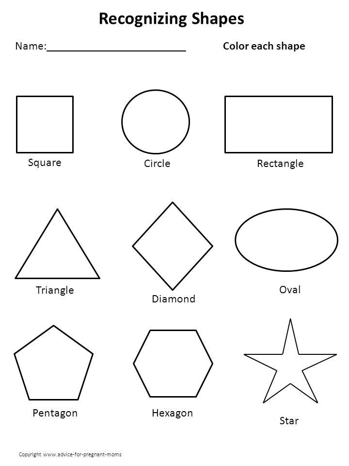 6 Images of Kindergarten Shapes With Printable Calendar