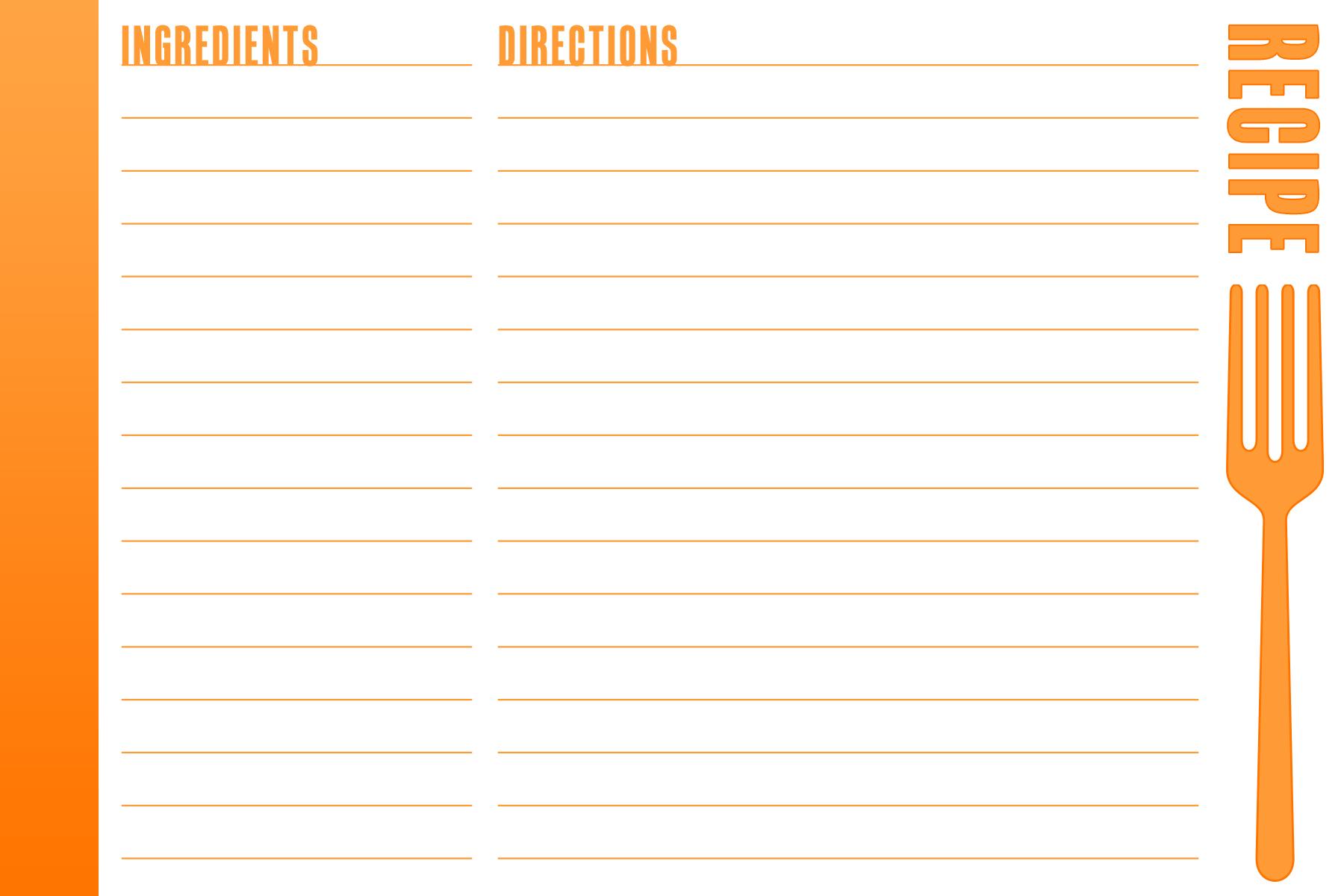 full page recipe templates binder