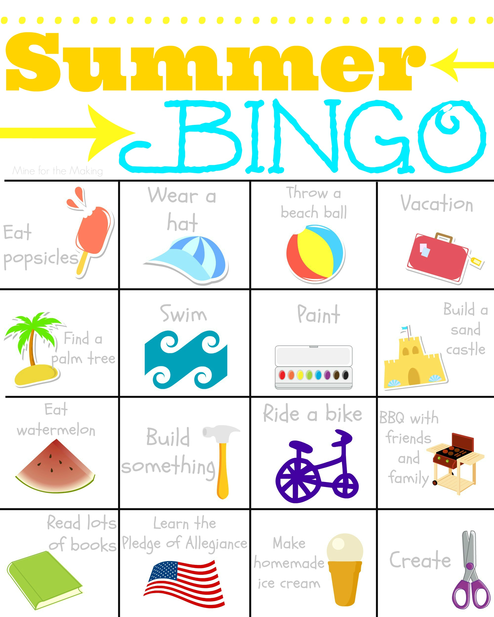 4 Images of Free Printable Summer Bingo
