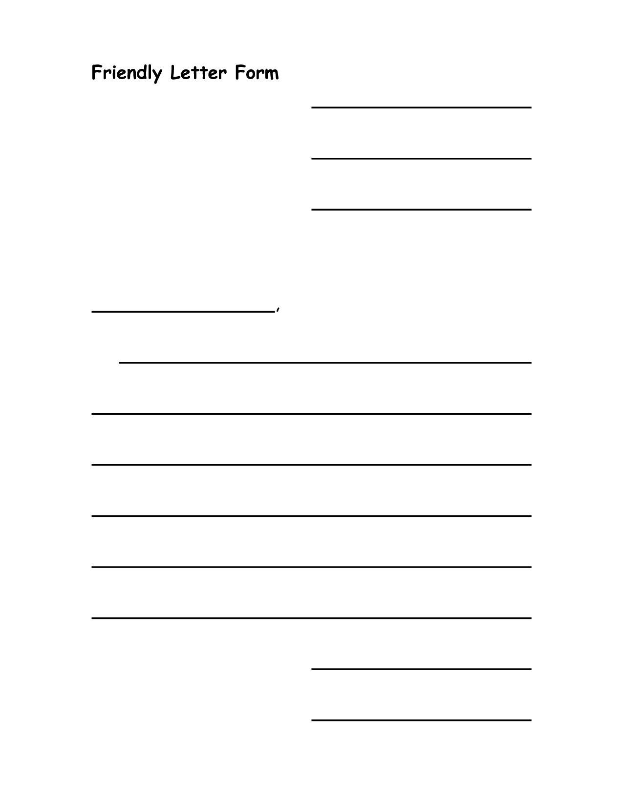 friendly letter format example