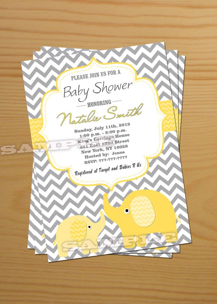 8 Images of Elephant Baby Shower Invitations Printable