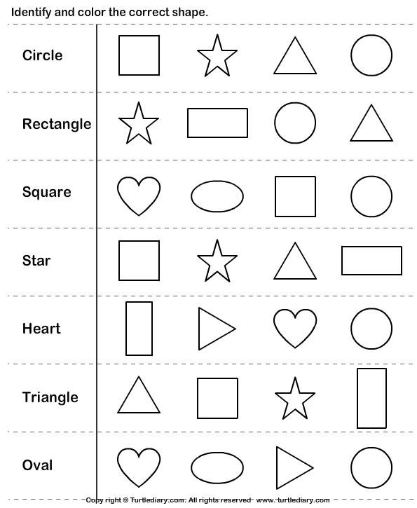 Worksheets Shapes Worksheets For Kids 6 best images of kindergarten shapes with printable calendar identifying worksheets kindergarten