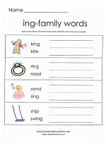 8 Images of ING Word Family Printables