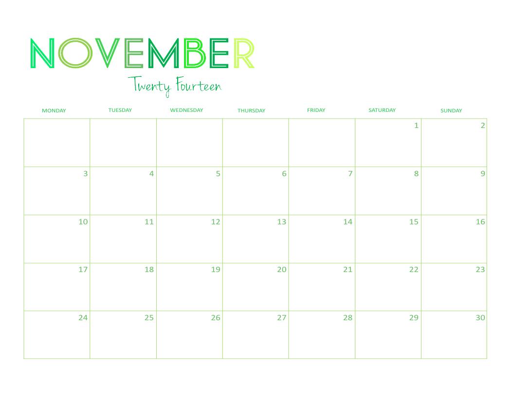 November Calendar 2014 Printable : Best images of cute printable calendars for moms