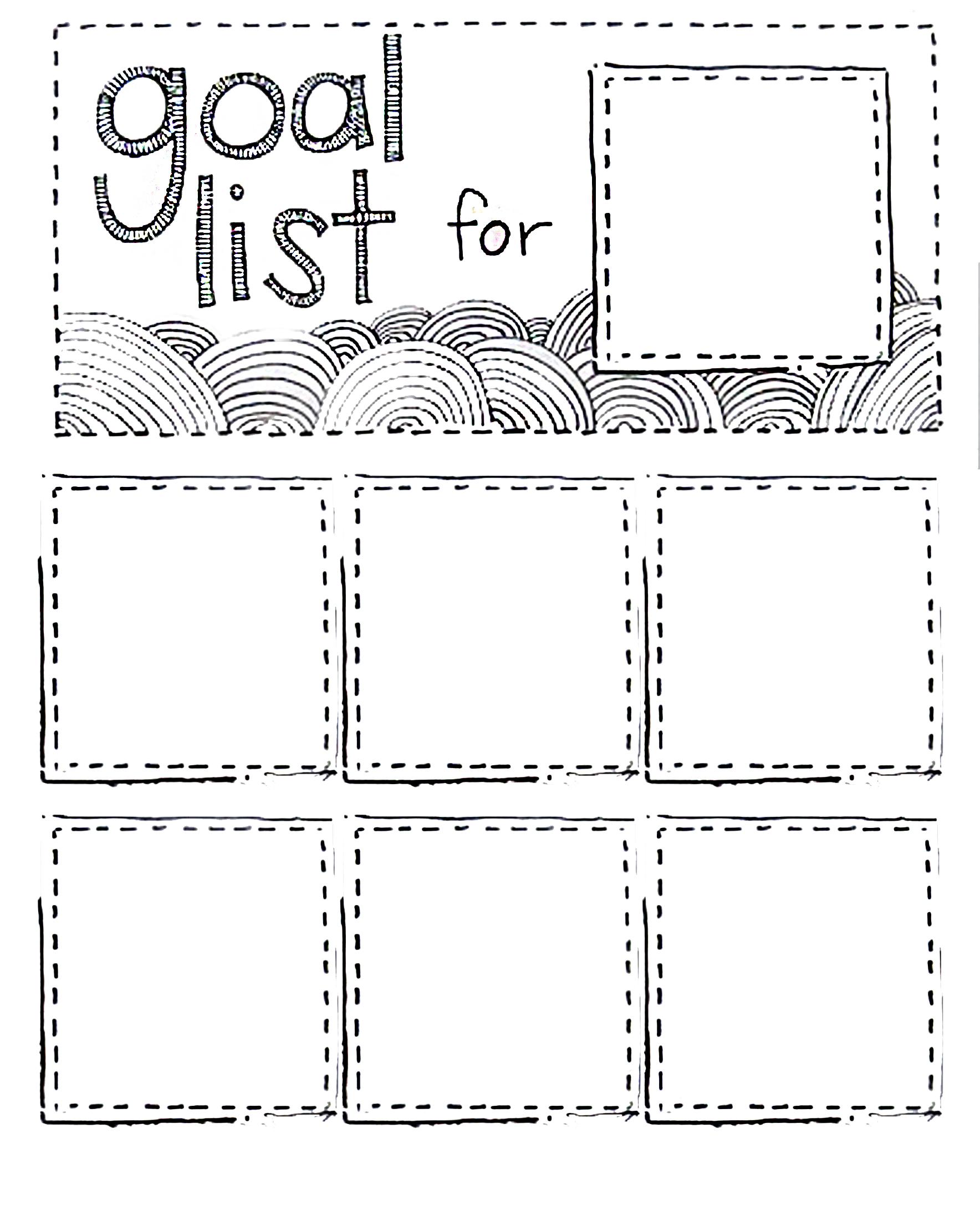 Post It Goal List Printable