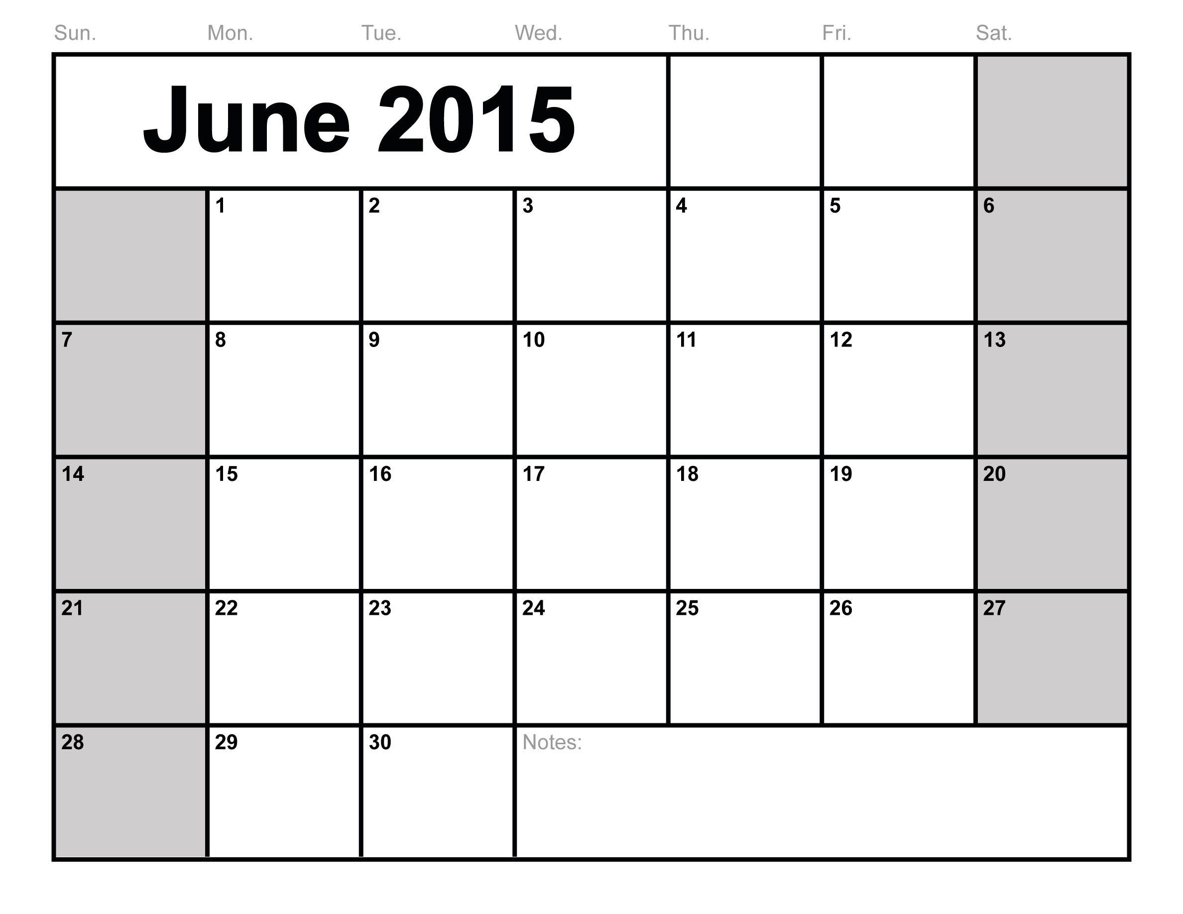 5 Images of June 2015 Monthly Calendar Printable