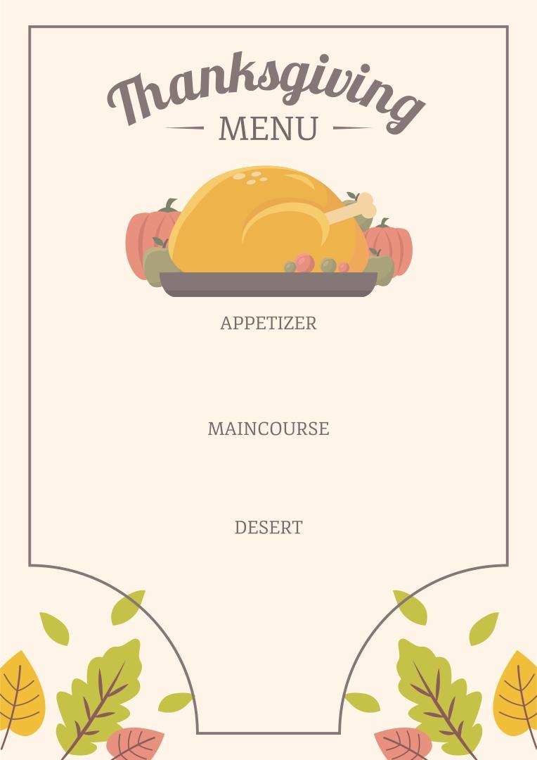 Printable Blank Thanksgiving Menu Template