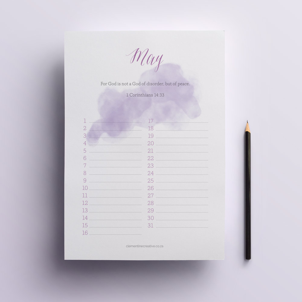 Printable Calendars with Bible Verses