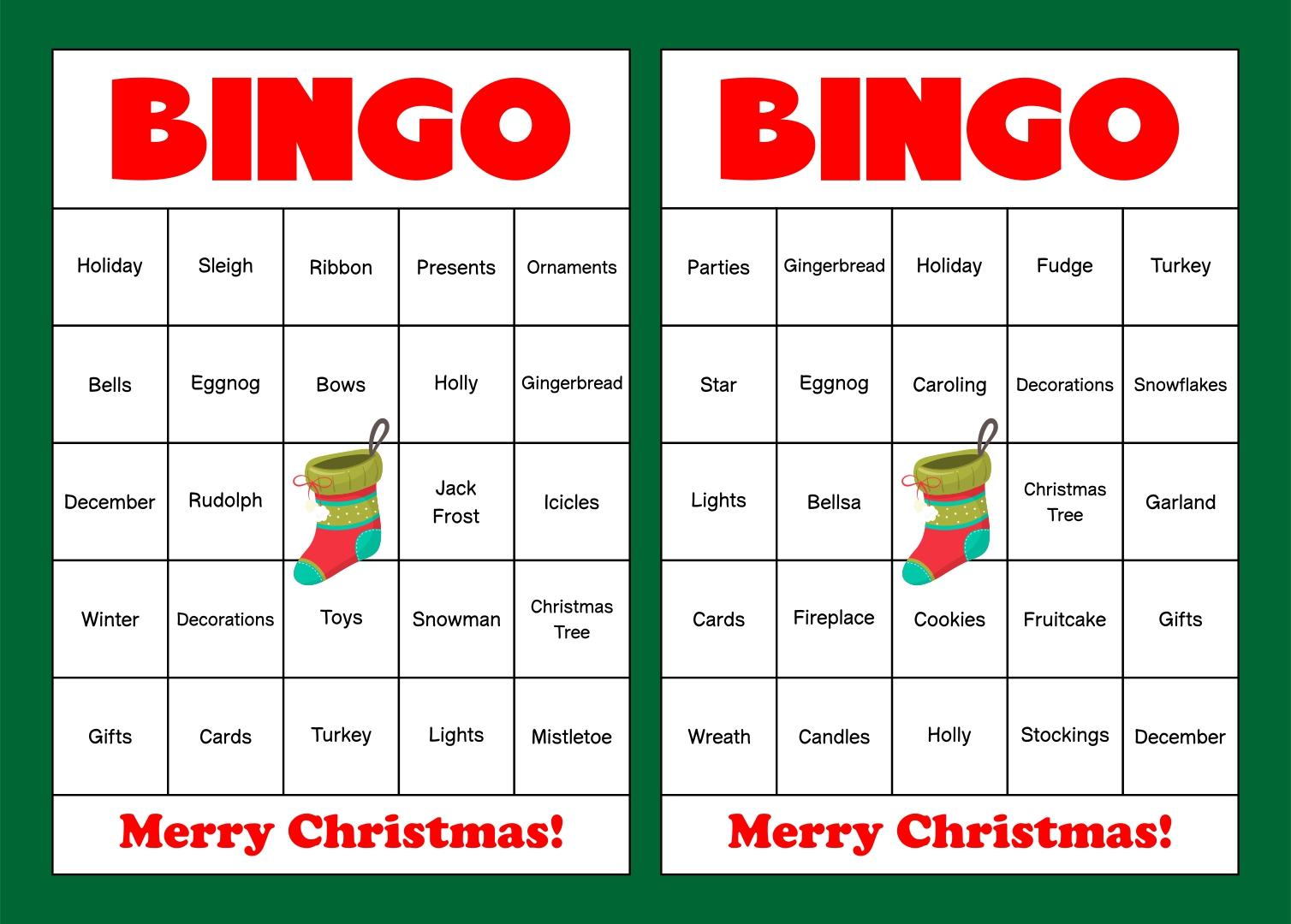 Printable Christmas Bingo Cards