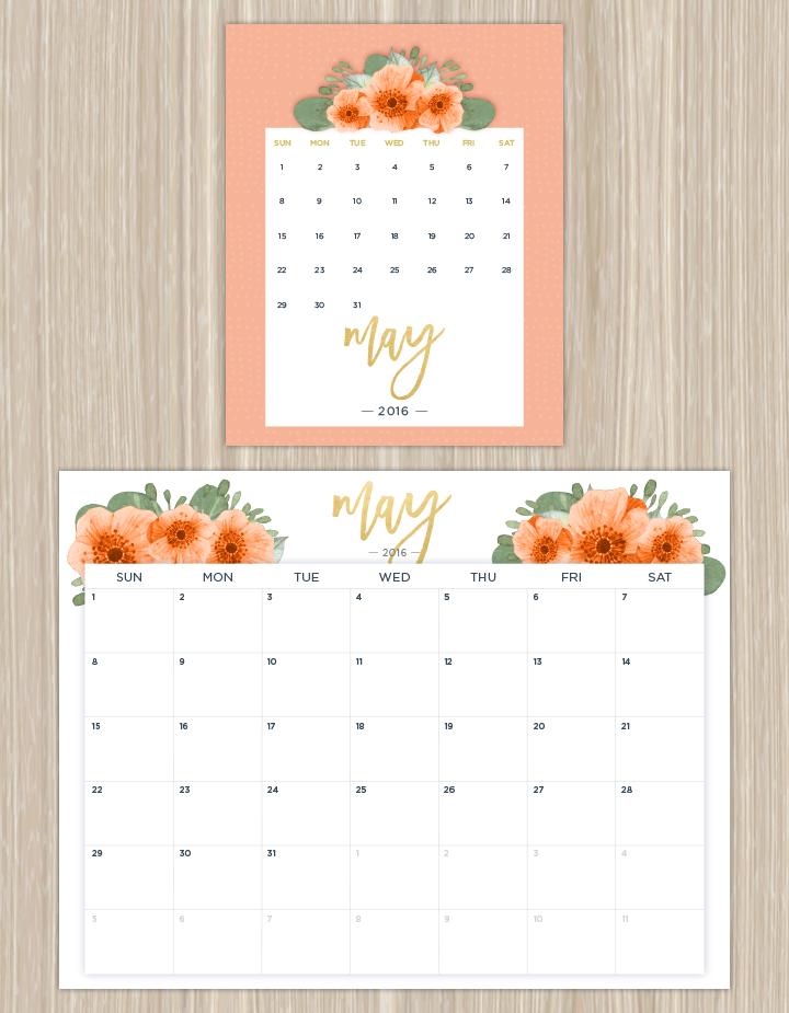 Printable Floral April 2016 Calendar