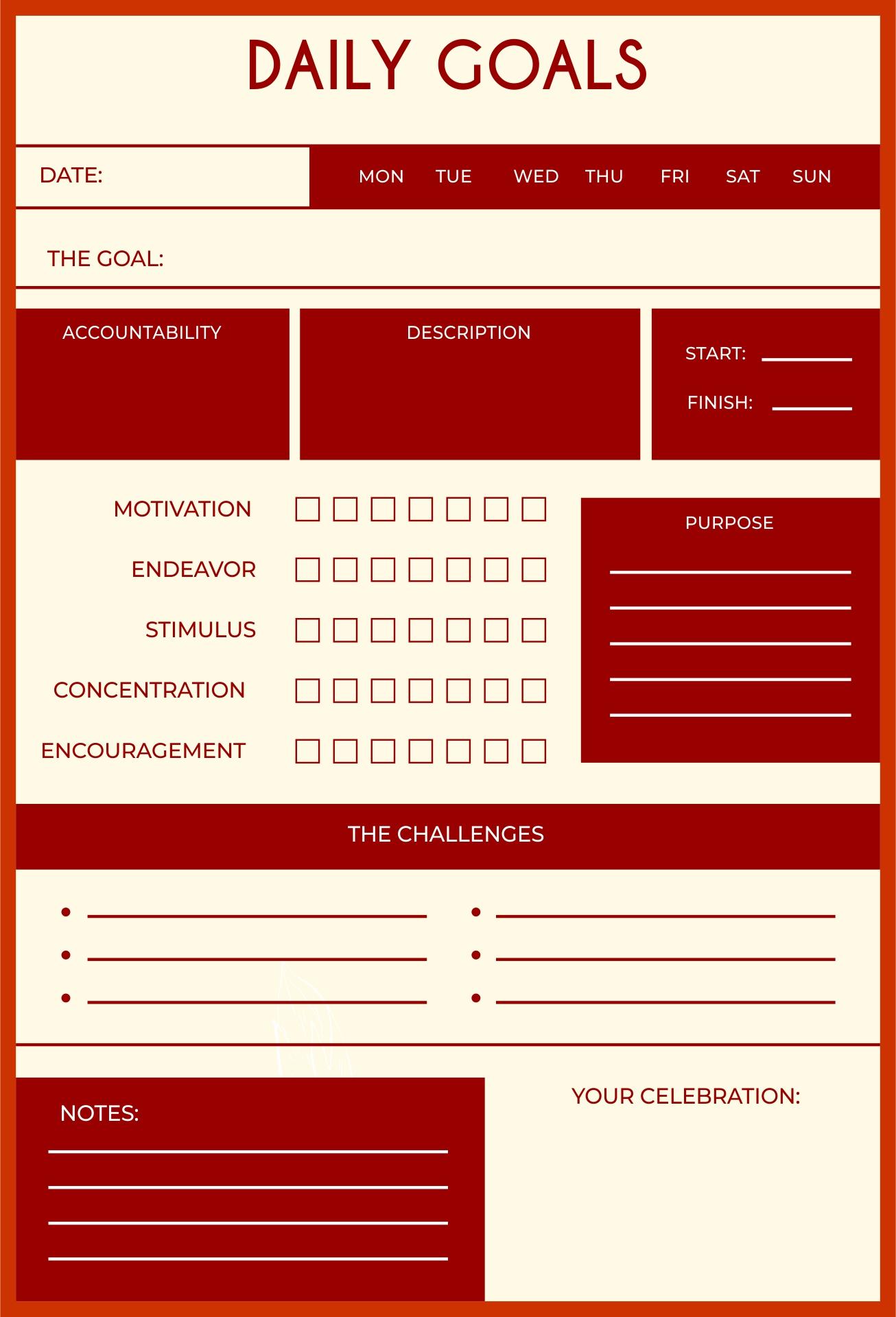 Printable Goal Sheets