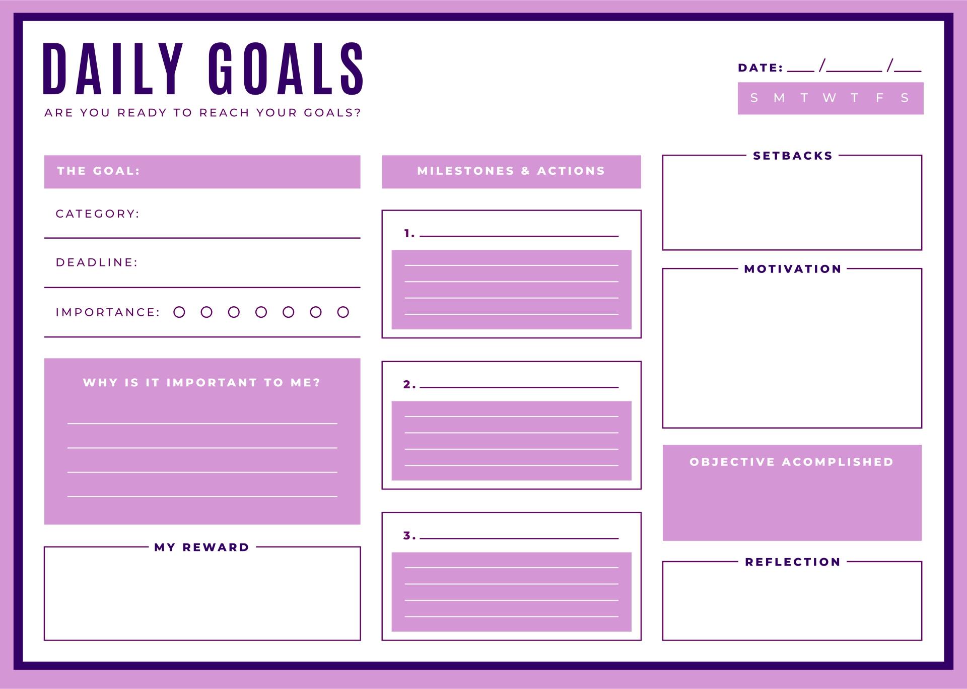 Printable Goals List
