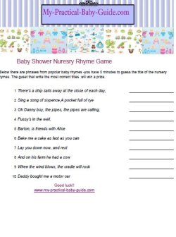Printable Nursery Rhyme Baby Shower
