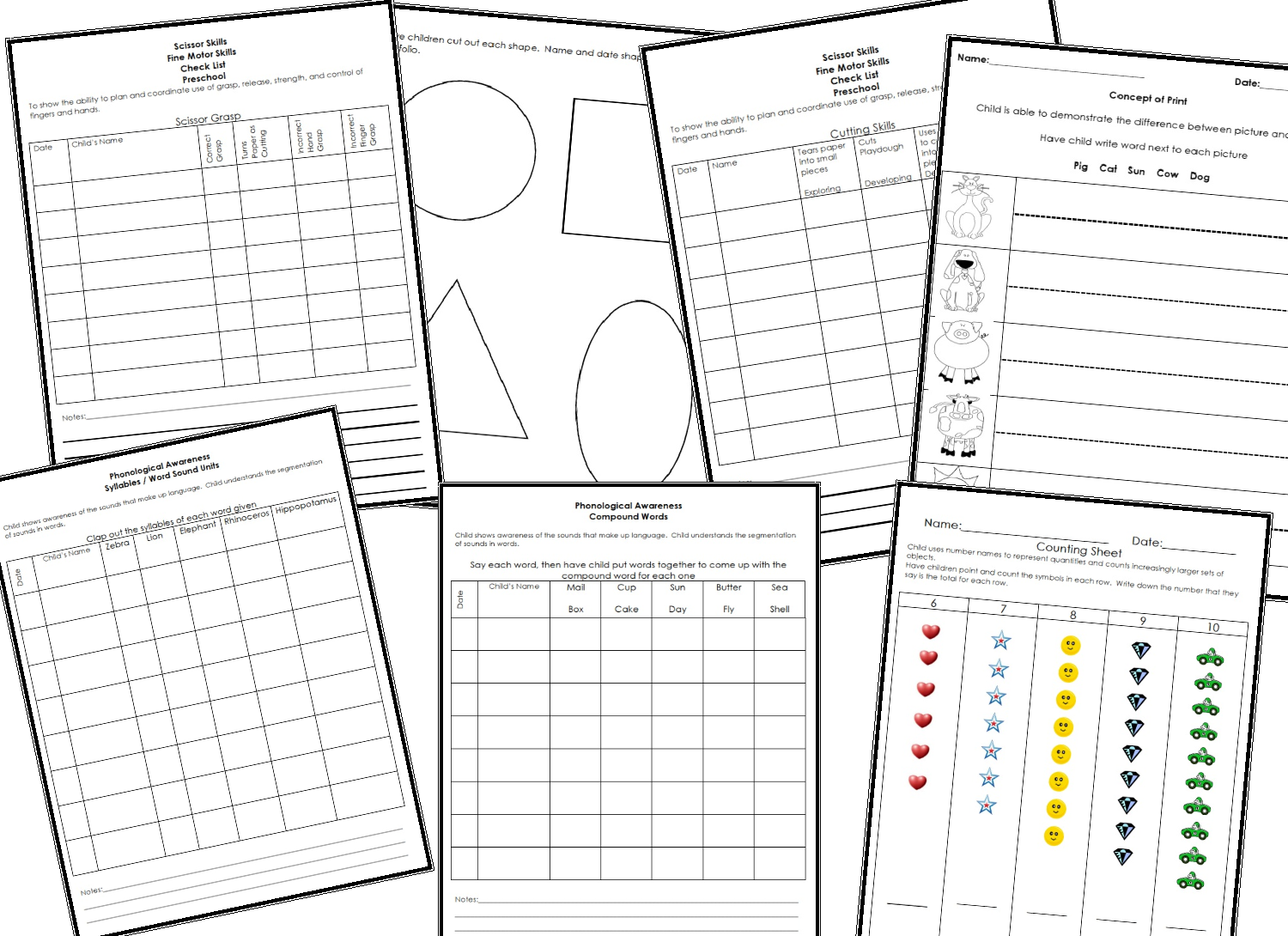 assessment tools for preschool 6 best images of preschool portfolio printables 646