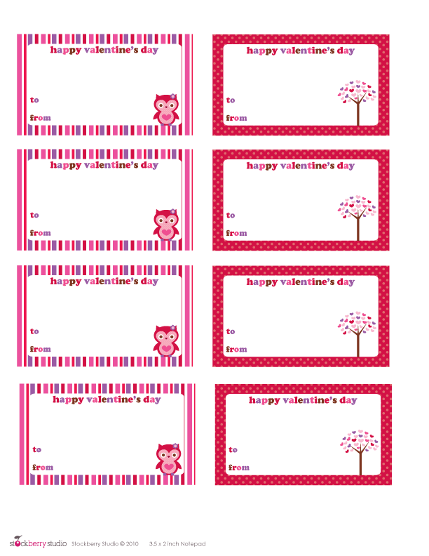 5 Images of Printable Valentine Tags