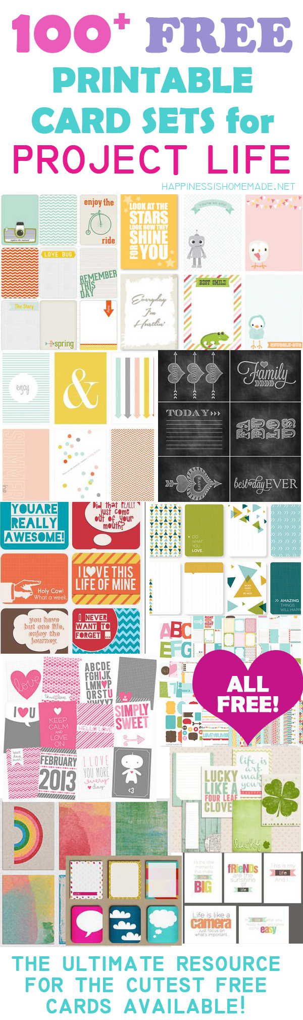 4 Images of Project Life Free Printables