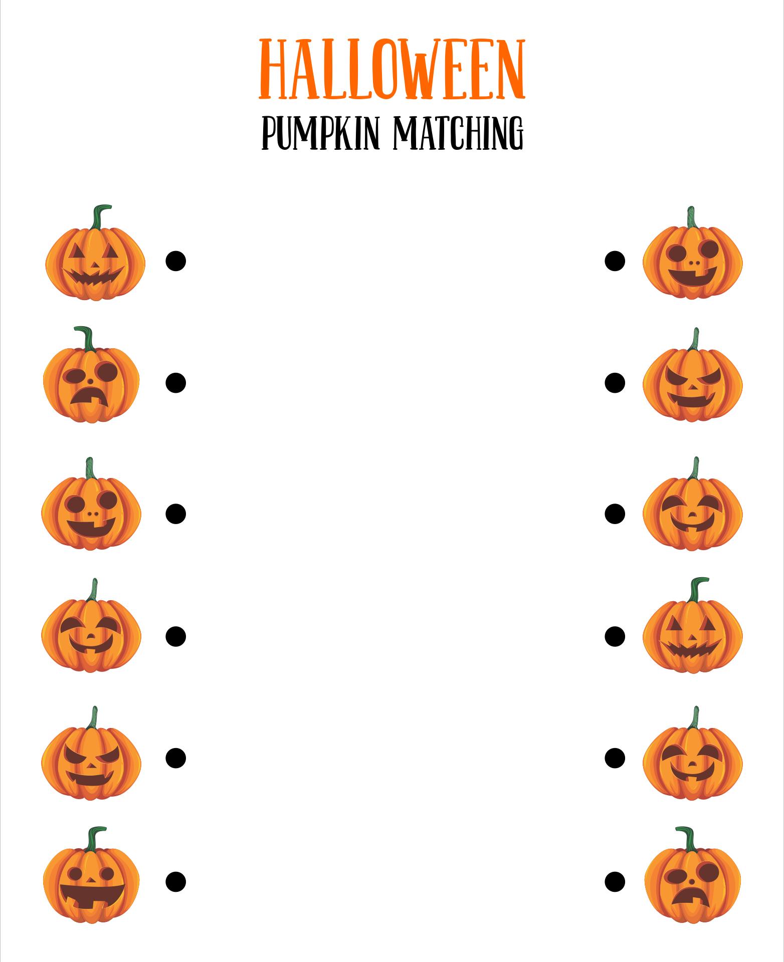 Pumpkin Matching Game Printable