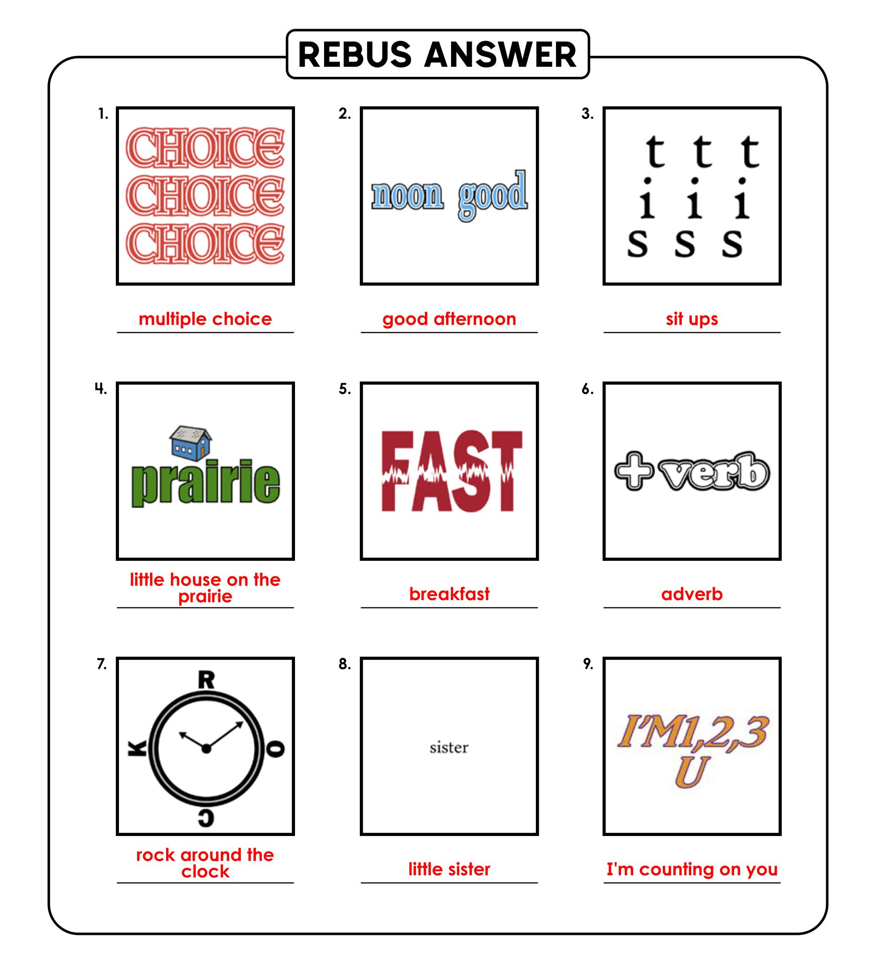 7 Images of Printable Rebus Puzzles With Answers