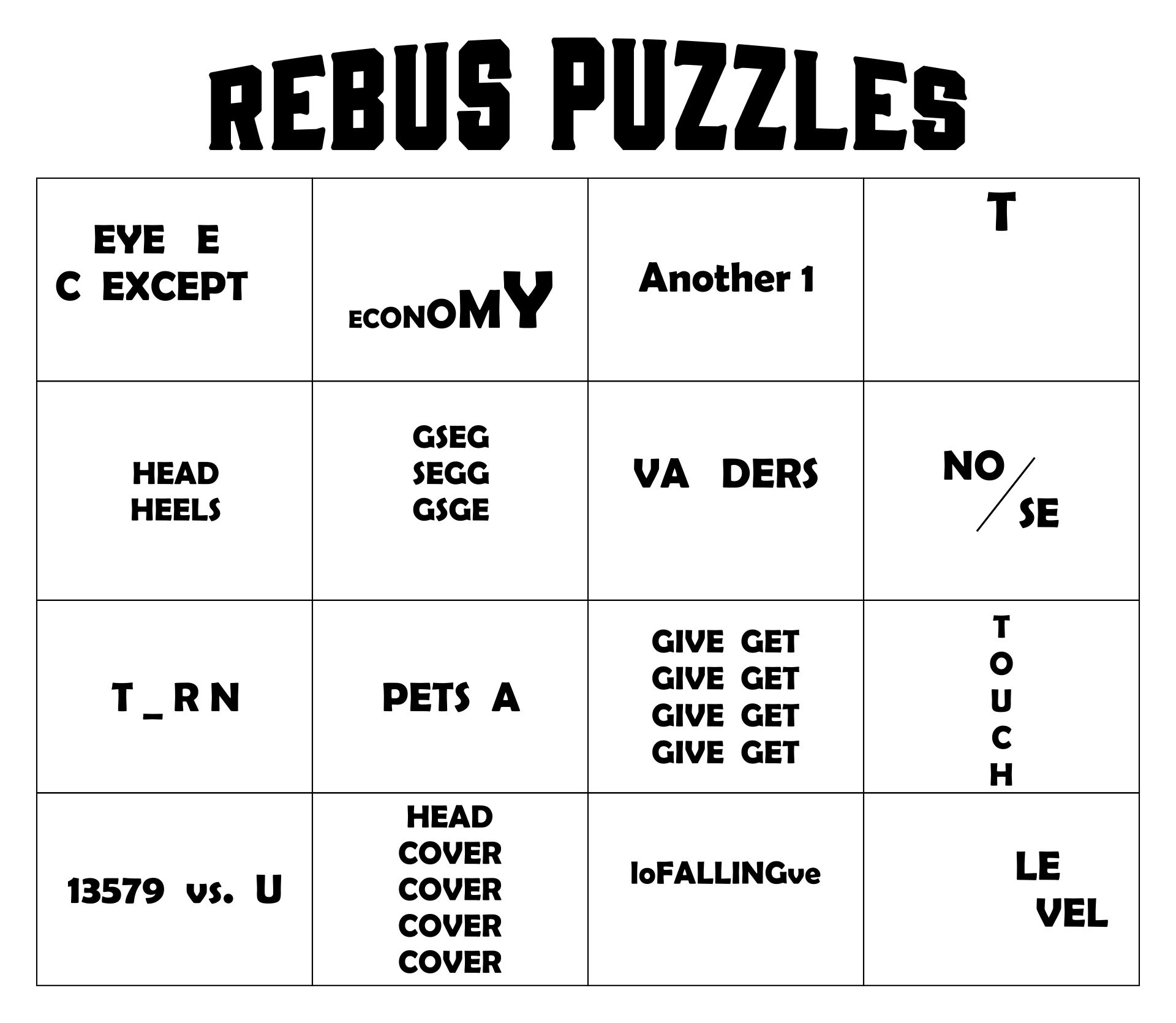 Worksheets Rebus Puzzle Worksheets rebus puzzle worksheets printable intrepidpath 7 best images of puzzles with answers