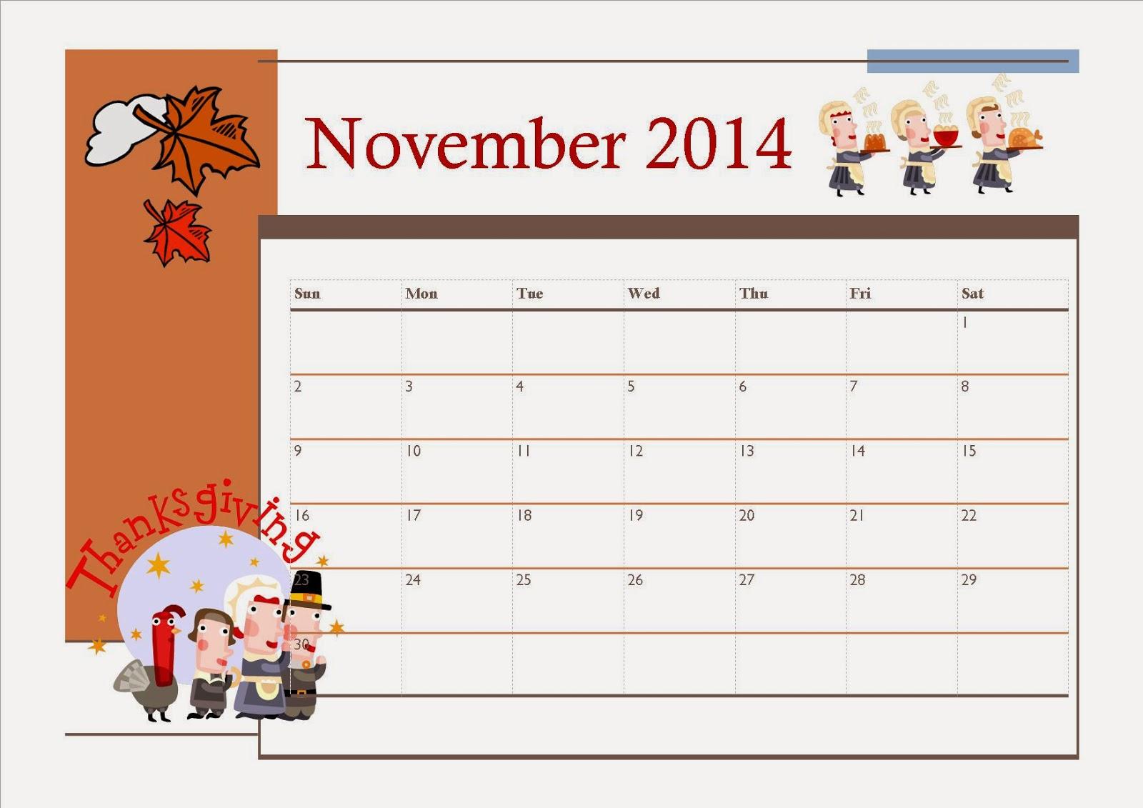 6 Images of Thanksgiving Free Printable Calendar Nov 2014
