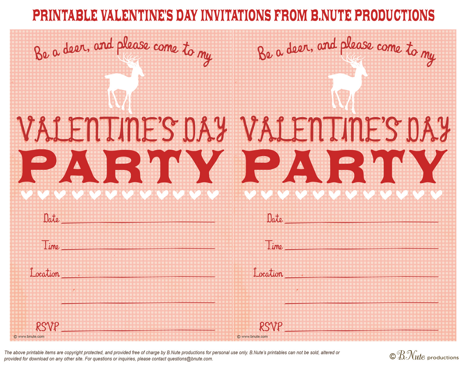 8 Images of Valentine's Printable Party Invitations