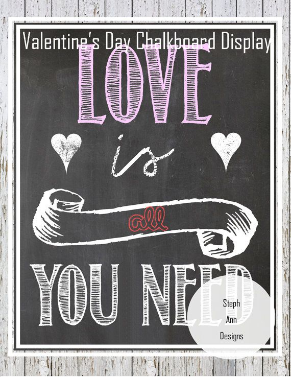 6 Images of Printable Chalkboard Art For Valentine's