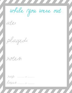 7 Images of While Were Out Printable Babysitter Sheet