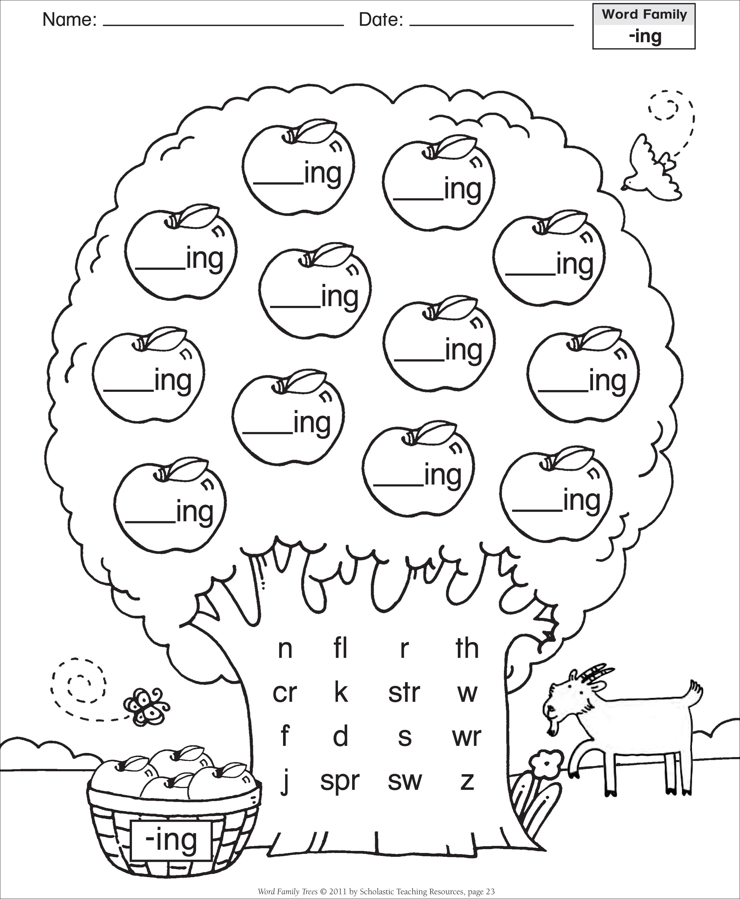 Printable Word Family Worksheets : Best images of ing word family printables
