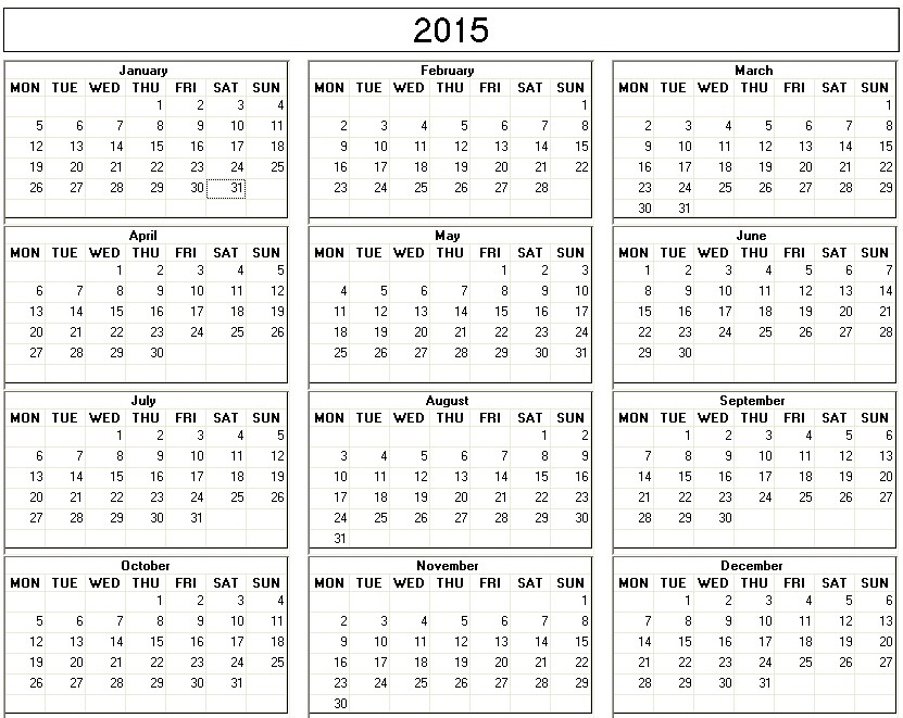 2015 Calendar Printable One Page