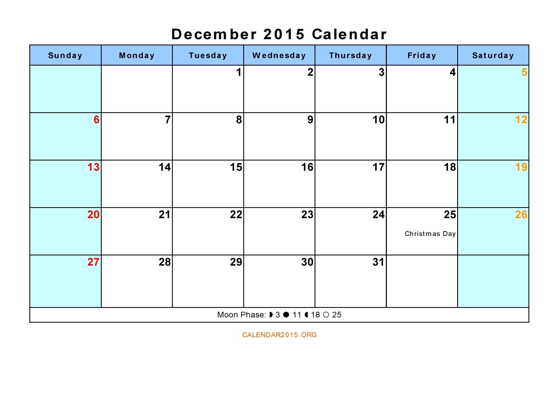 2015 Excel Calendar with Holidays