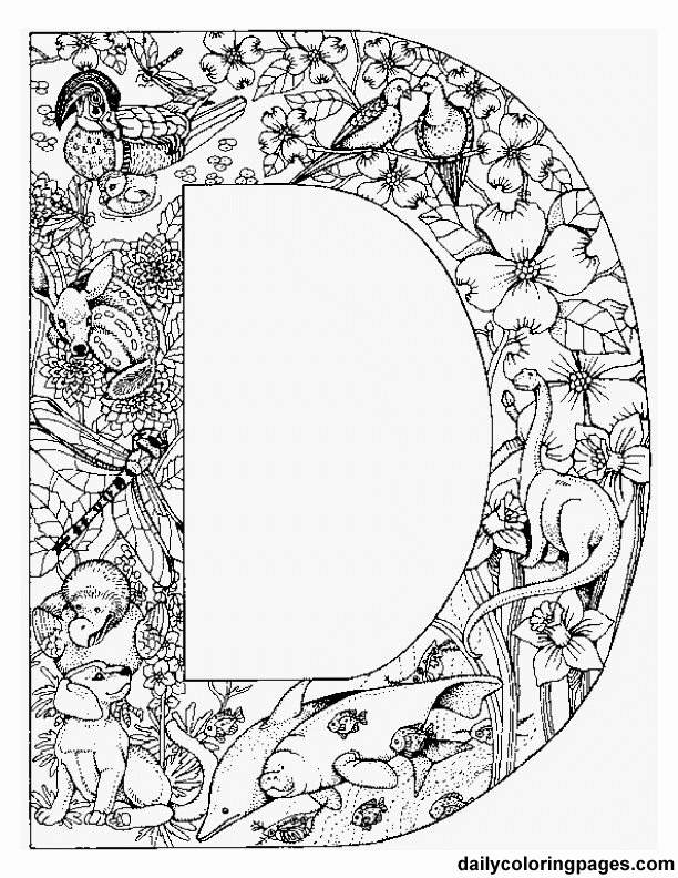 8 Images of Free Adult Coloring Pages Letter D Printables