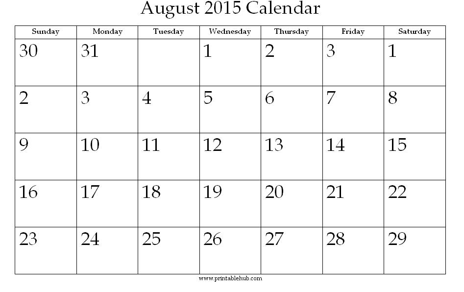 5 Images of August 2015 Calendar With Holidays Printable