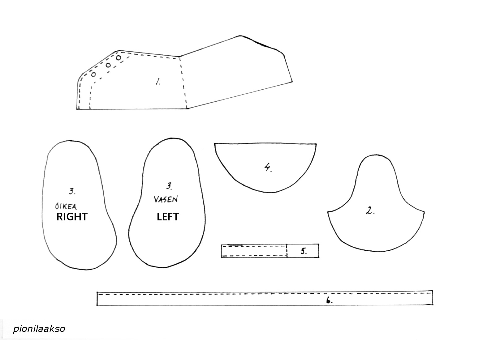 Baby shoe pattern template