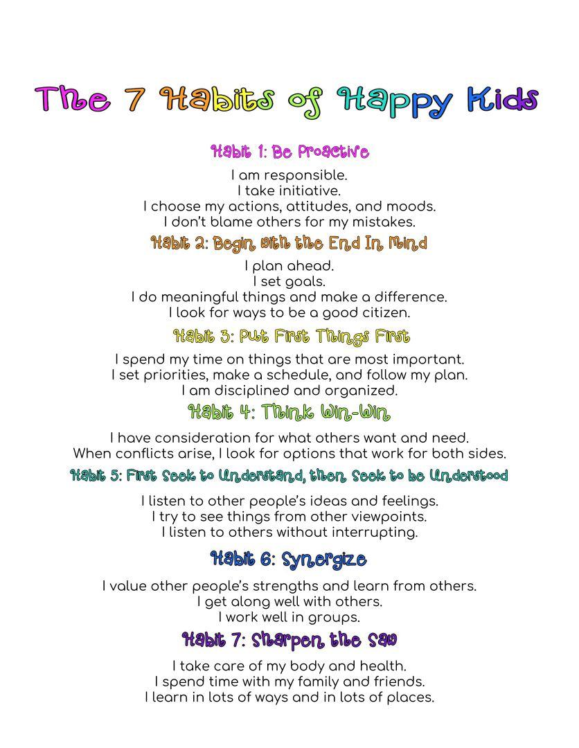 Be Proactive 7 Habits of Happy Kids