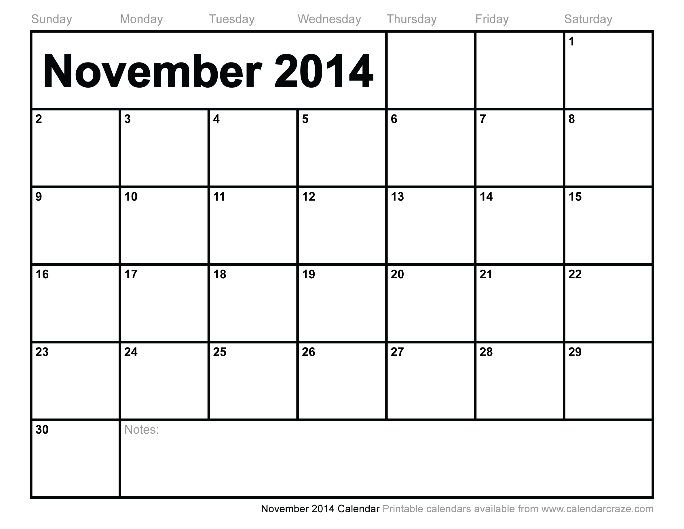 6 Images of Whimsical 2014 Calendar Printable November