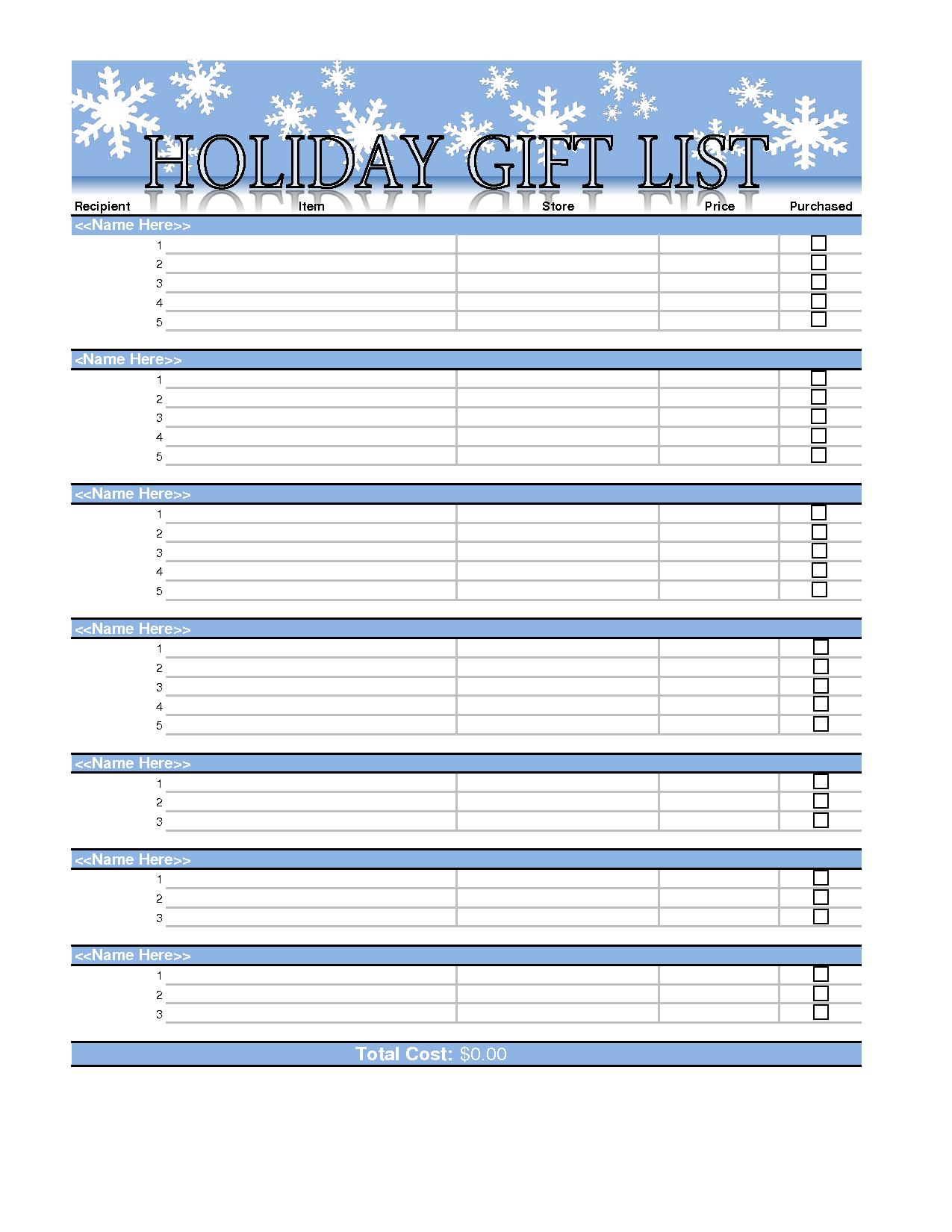 printable shopping lists templates