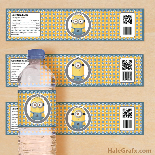 4 Images of Minion Water Bottle Labels Printable Free