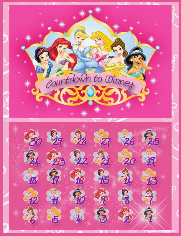 7 Images of Free Printable Disney Countdown Calendar 2016
