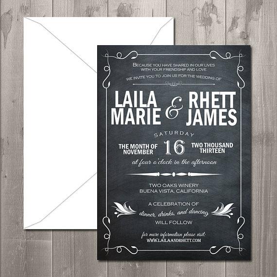 DIY Chalkboard Wedding Invitations