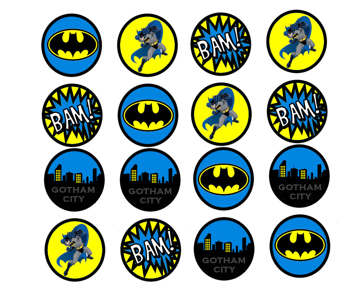 7 Images of Printable Batman Cupcake Toppers