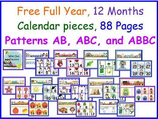 6 Images of Printable Preschool Calendar Pieces