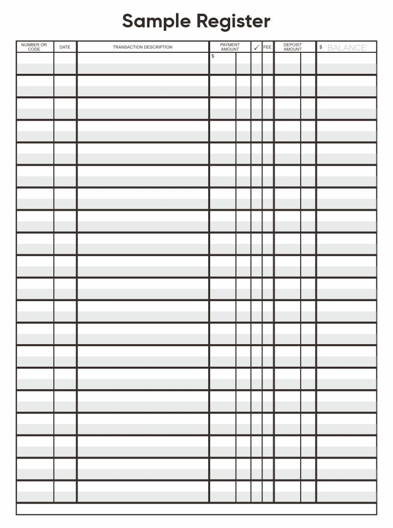 Printable Check Registers Template