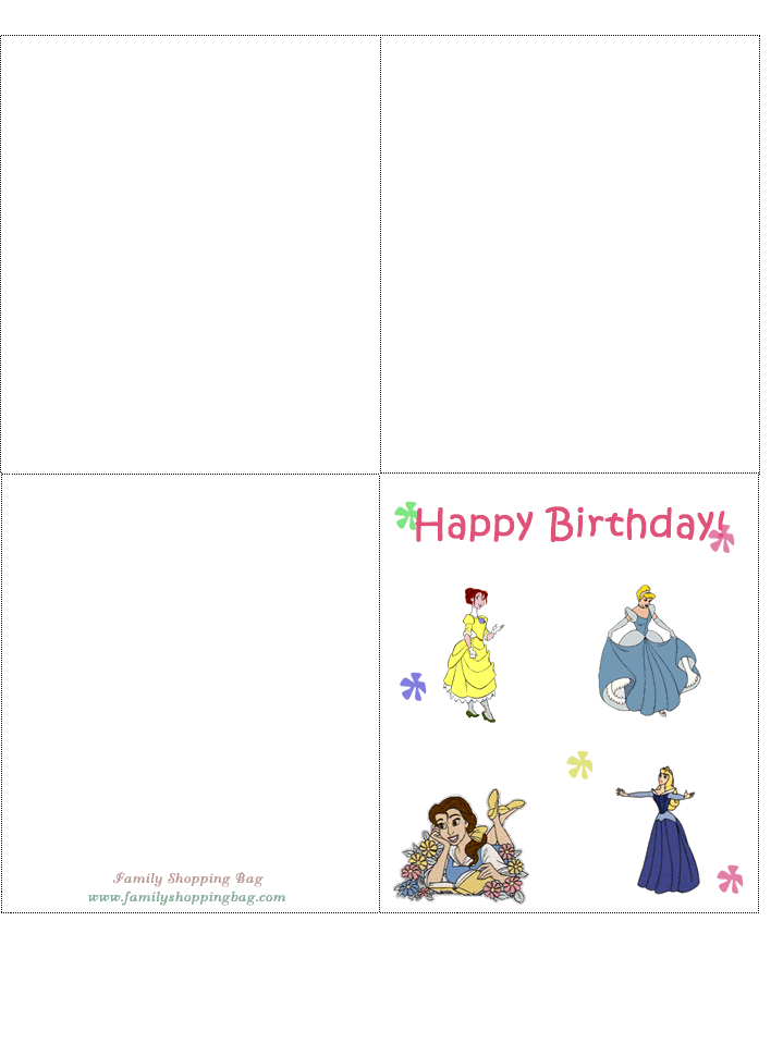 6 Images of Free Princess Printable Birthday Cards