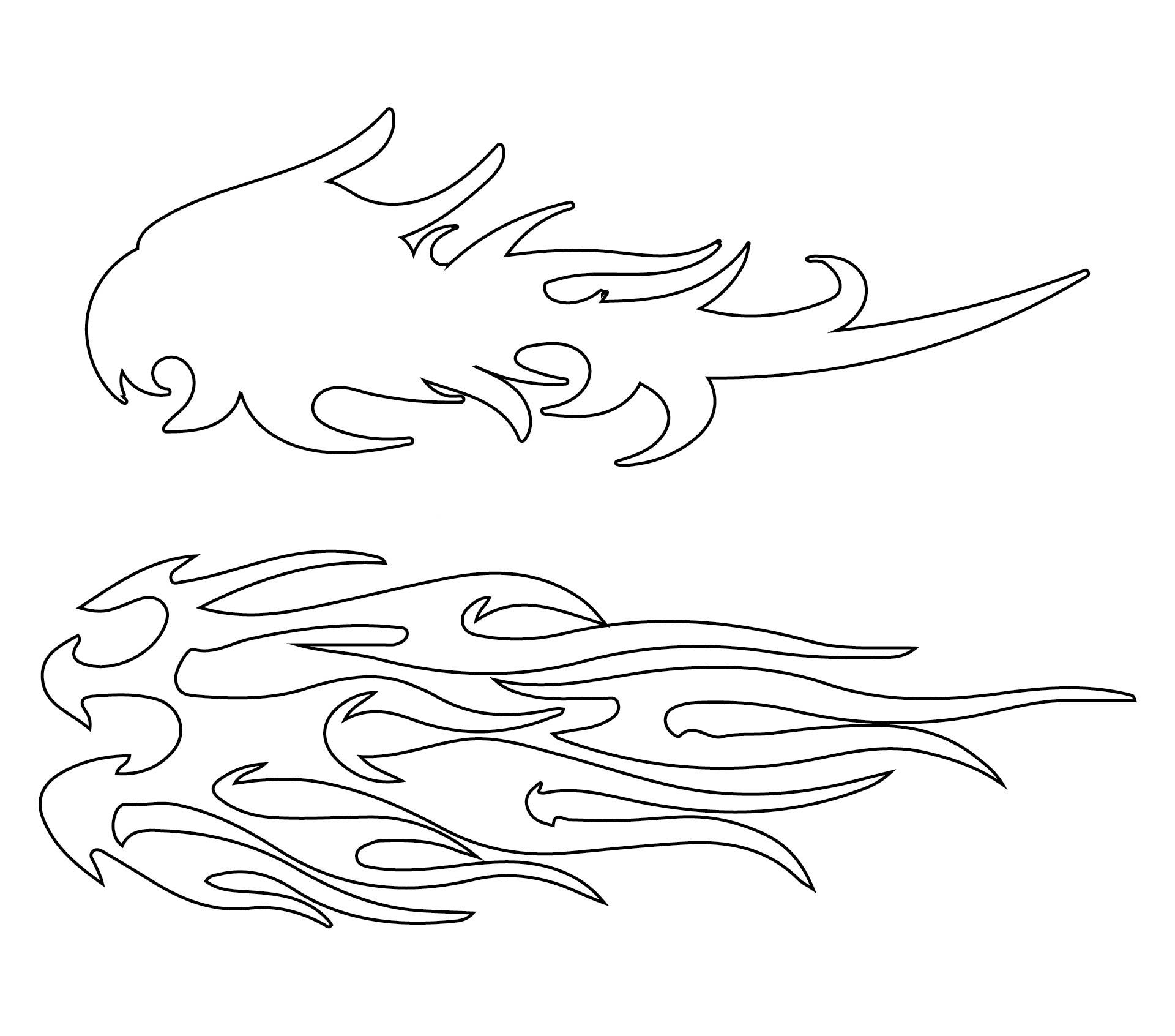 Printable Flame Patterns Stencil