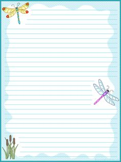 5 Images of Dragonfly Writing Papers Printables