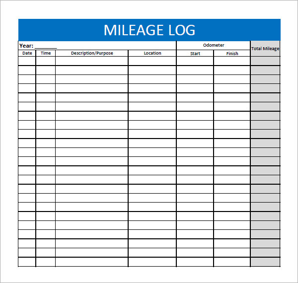 8 Images of Printable Mileage Sheet Template