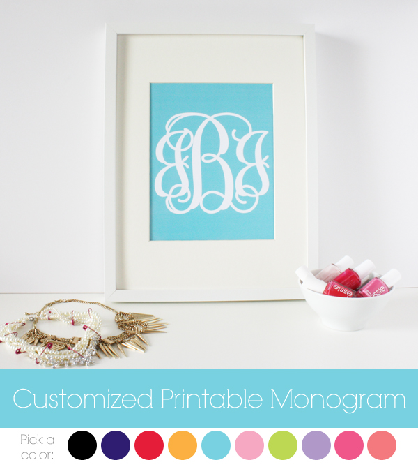 8 Images of Customized Printable Monogram